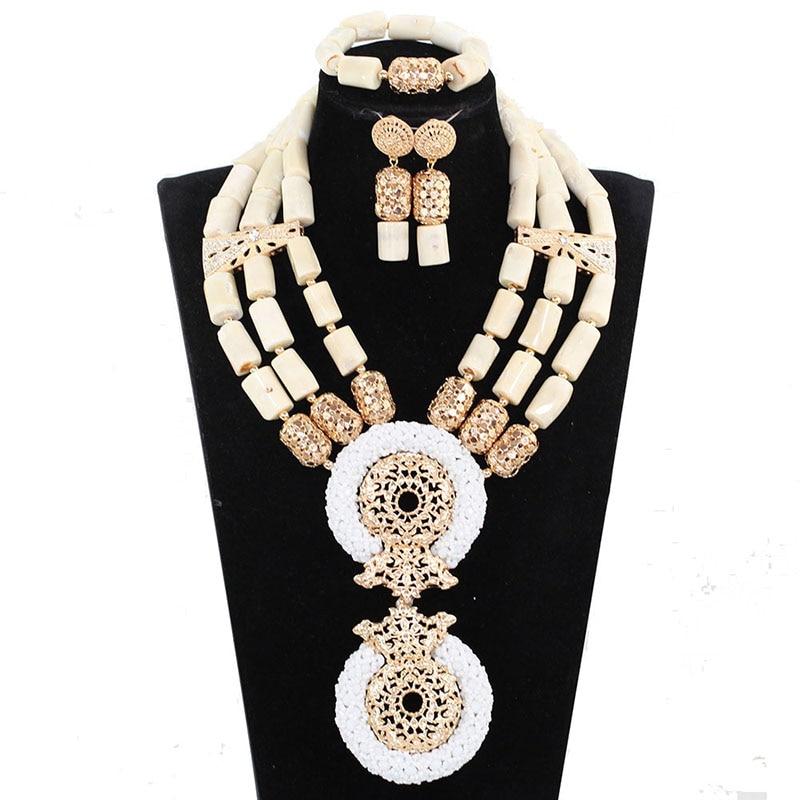 Здесь можно купить  White african gold wedding jewelry sets african coral beads jewelry set african costume jewelry set free shipping JB126  Ювелирные изделия и часы