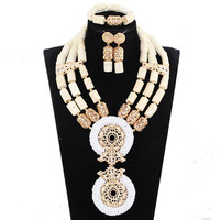White african gold wedding jewelry sets african coral beads jewelry set african costume jewelry set free shipping JB126