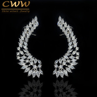 New Arrival Luxury Ear Cuff Design Cubic Zirconia Fashion Clip Earrings 925 Sterling Silver Jewelry For