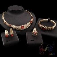 Red crystal trang sức set 18ct Brass Vàng màu Jewelry đặt đẹp bốn mảnh trang sức set