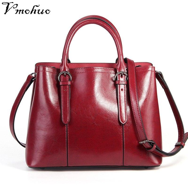 VMOHUO 100% Genuine Leather Messenger Bags Large Capacity Women Shoulder Handbag Bag Retro Tote Bags Lady's High Quality Hobos недорого