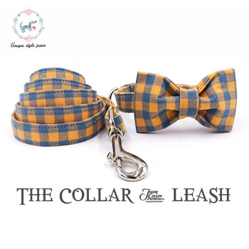 Orange Plaid Collar and Leash set with Bow Tie