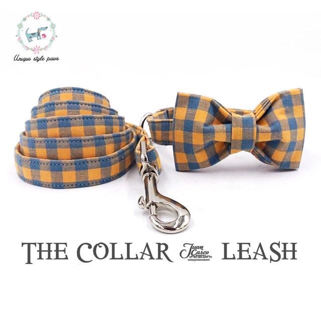 Orange Plaid Collar and Leash set with Bow Tie