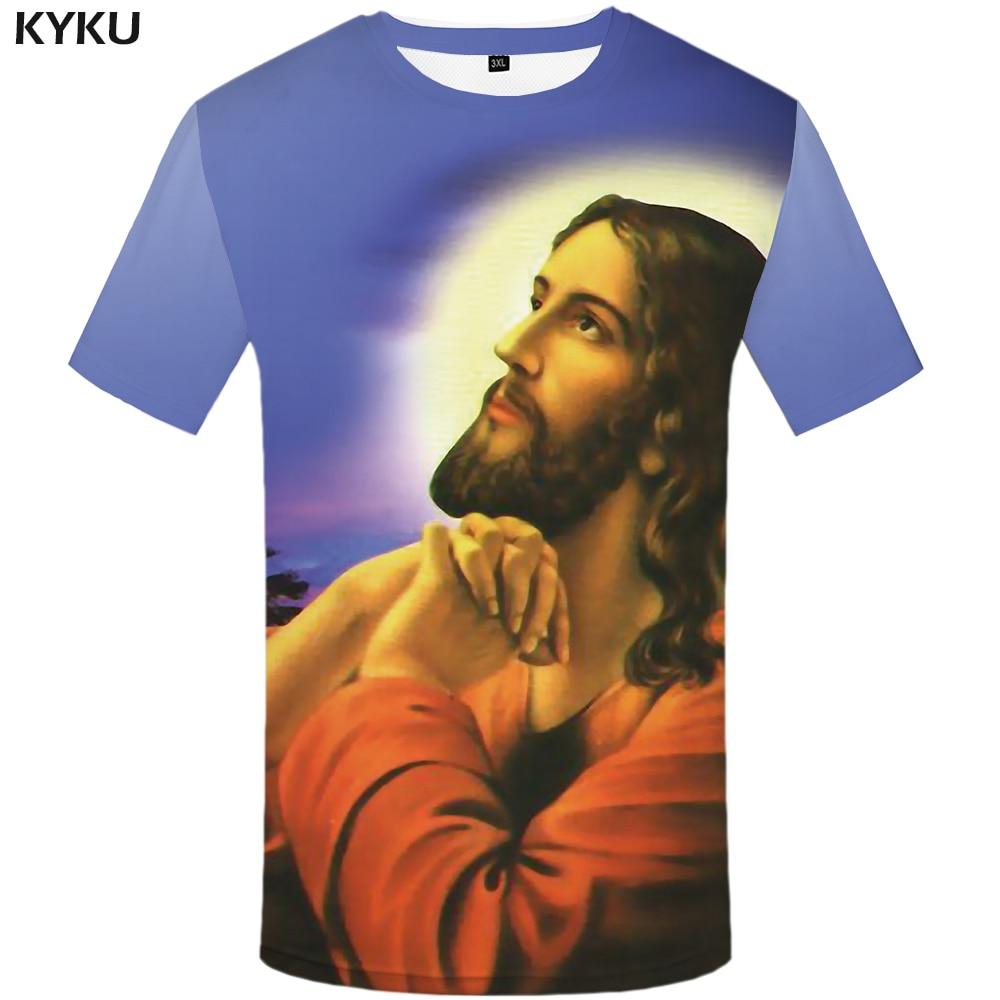 KYKU Brand Jesus Tshirt Men Character   T     Shirt   Tree Punk Rock Tee Moon 3d Print   T  -  shirt   Streetwear Mens Clothing Hip Hop Tops