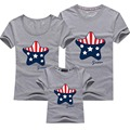 Family T Shirts Set Summer America flag star printed Family Fashion Cotton Mother/father and  Daughter/son T-shirt XXXXL