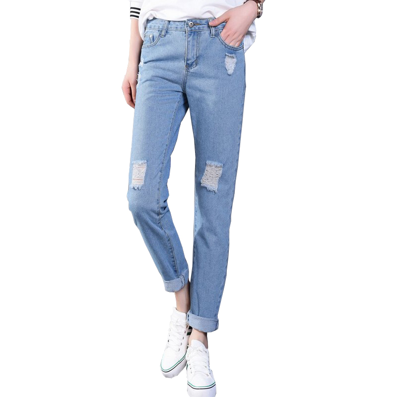 ripped jeans women 2017 new loose boyfriend jeans for. Black Bedroom Furniture Sets. Home Design Ideas