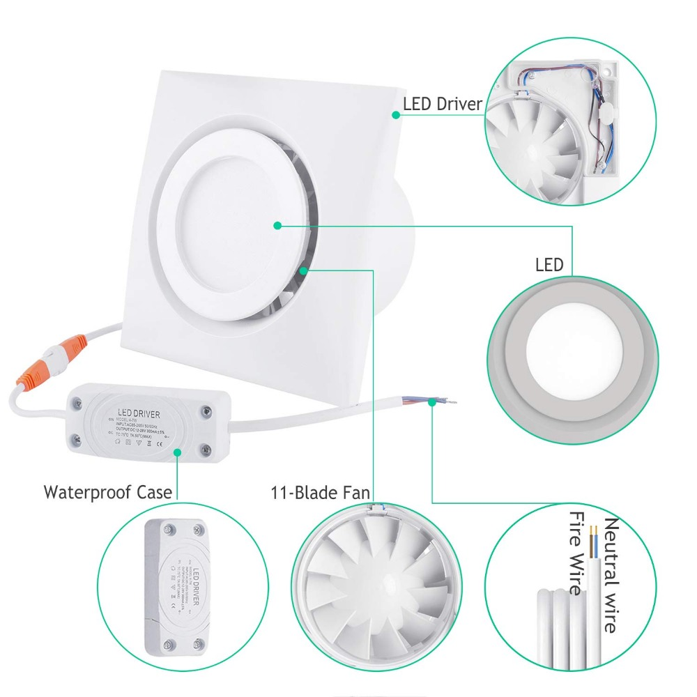 4 inch Home Ventilation Fan Bathroom Exhaust Fan Ceiling, Window and Wall Mount Fan, Built in 4W LED Light with Led Driver-in Exhaust Fans from Home Appliances    3