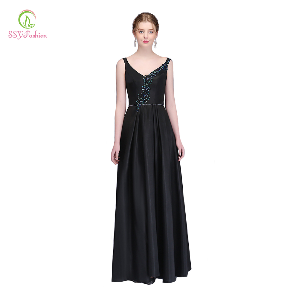 9d8c9bb6aa3c SSYFashion New Black Evening Dress Simple Satin V-neck Floor-length Sleeveless  Sequined Party Gown Formal Dresses Robe De Soiree