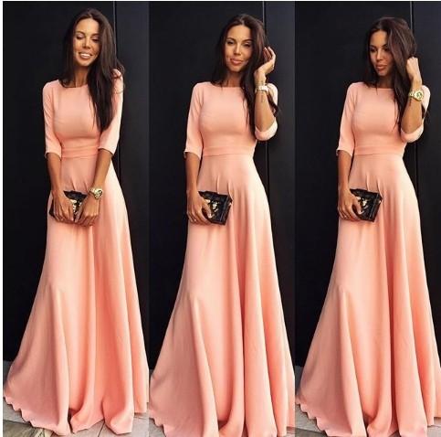 2018 Summer Sexy Elegant Women Half Sleeve Slim Empire O-neck Vestido Evening Formal Party Prom Long Maxi Dress Plus Size S-2XL 14