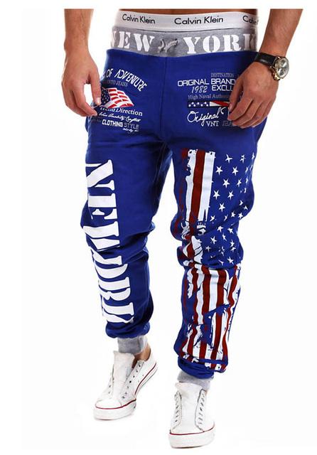 Homens da moda Caráter Coton Cordão Elástico Da Cintura das Calças Hip Hop Moletom Bandeira Letras Impressas