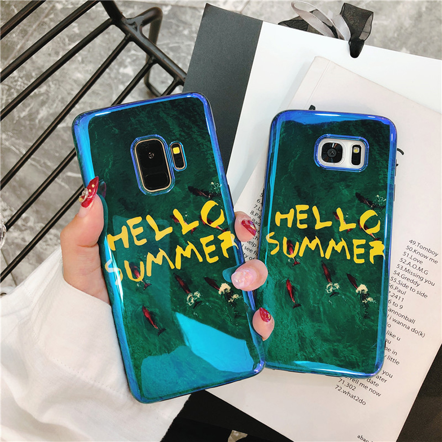 Ritozcase Vintage emerald <font><b>green</b></font> Hello summer smooth bright silicon <font><b>phone</b></font> <font><b>case</b></font> cover for samsung galaxy s7 edge s8 s9 plus note 8
