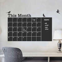 Home Decoration Diy Monthly Chalkboard Calendar Birds Vinyl Wall Decal Removable Planner Wallpaper Vinyl Wall Stickers