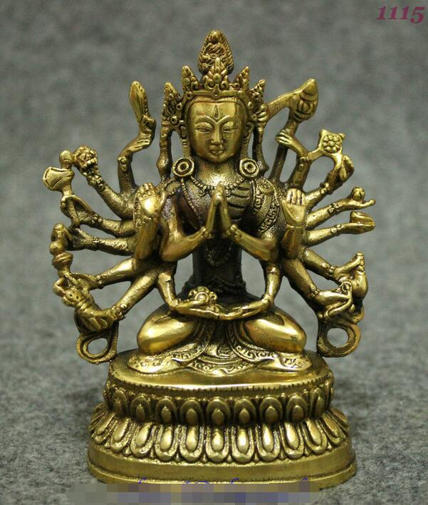 Tibet Buddhism Brass 18 Hand Maha Cundi Mother Guanyin Bodhisattva Buddha Statue statue