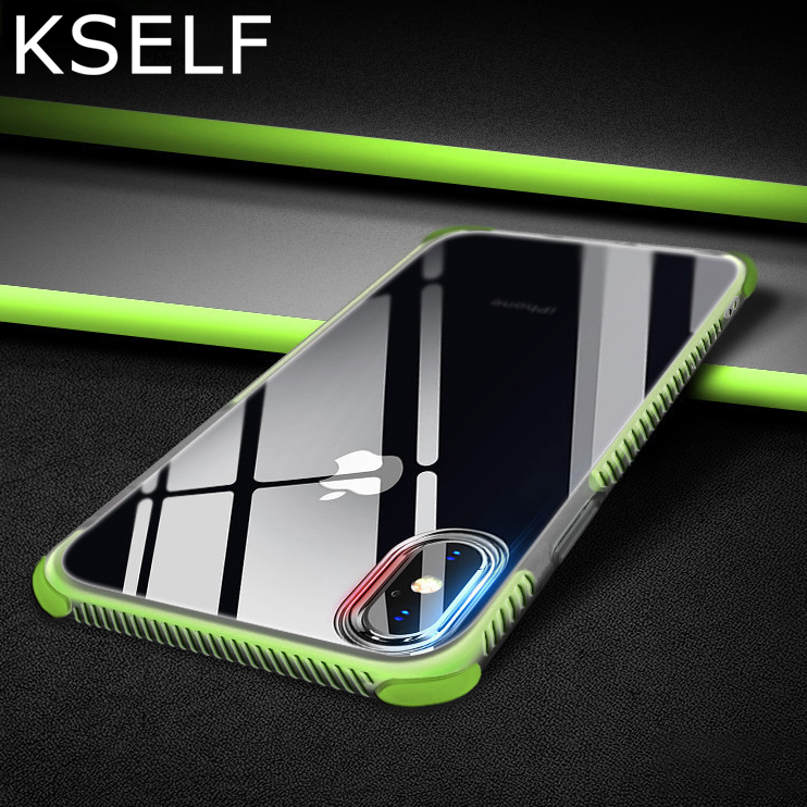 KSELF TPU Case For Apple iPhone X 8 7 6s Plus Double Protective Shockproof Silicone Cover 6S 6