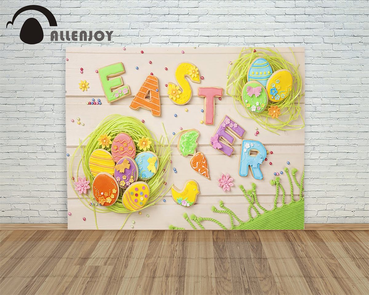 Allenjoy backdrops Easter eggs White wood candy cookies children Photophone studio background for photos
