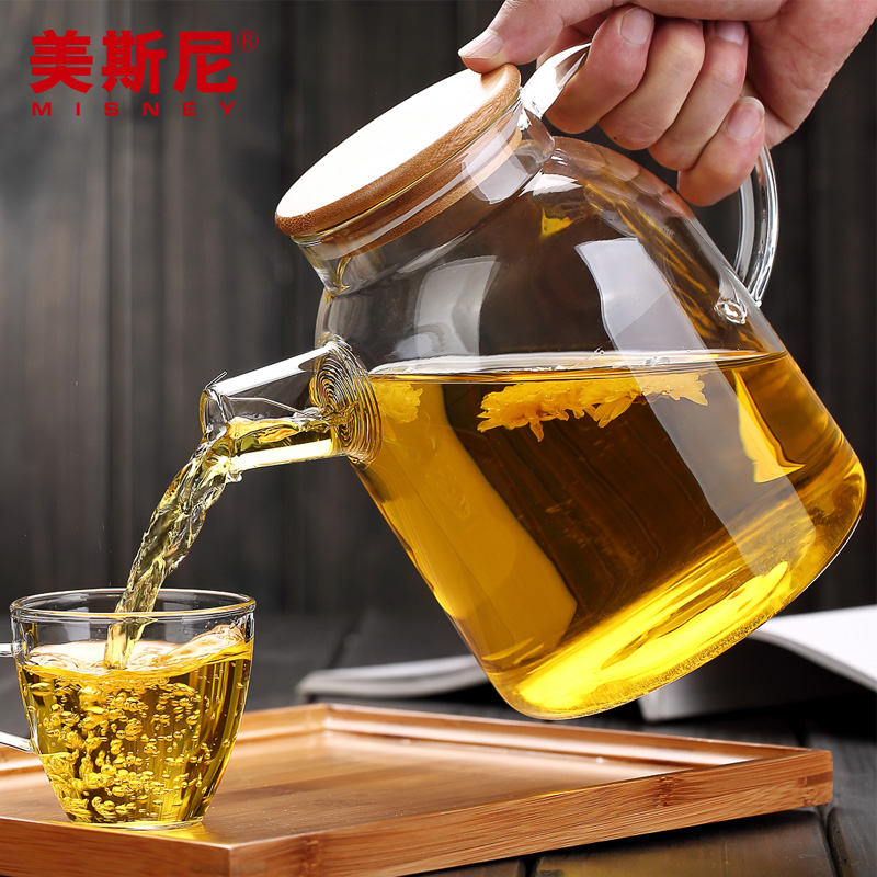 High temperature suited glass tea sets health pot filter cold water kettle high temperature resistant glass cool water kettle high capacity tea kettle juice pot 2l