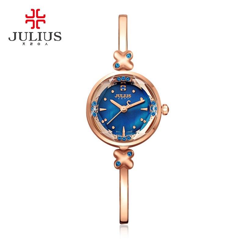 2017 Memorial Gift JULIUS Women Creative Slim Strap Watch Golden White Graceful Young Girl Elegant Fashion Quartz Lady Watches цена 2016