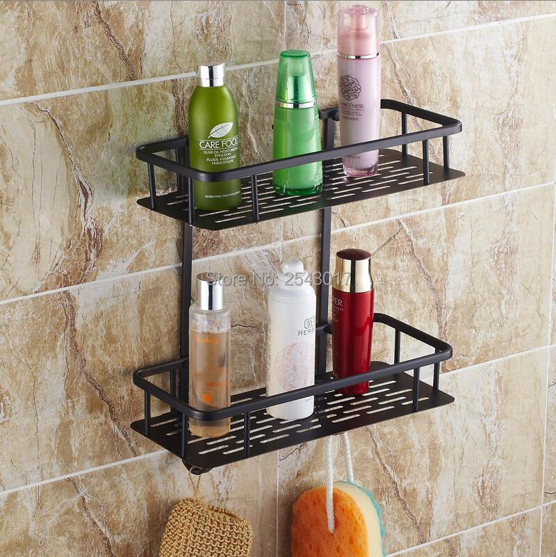 ФОТО Wholesale and Retail Euro Black Basket Shelf Wall Mounted Double Layer Bathroom Cosmetic Shower Shampoo Storage Rack ZR2527