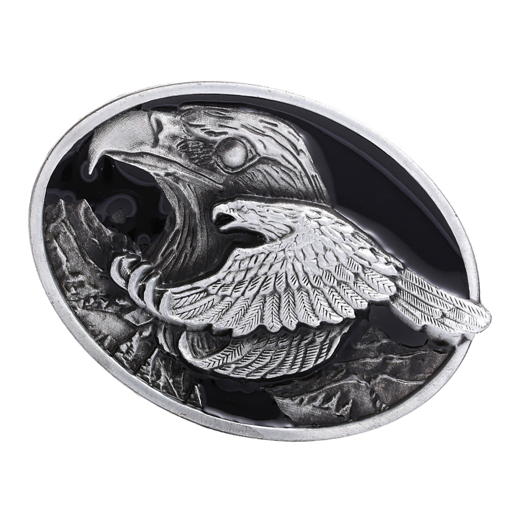 INDIAN CHIEF TWO FLYING EAGLES BELT BUCKLE METAL WESTERN COWBOY INDIANS