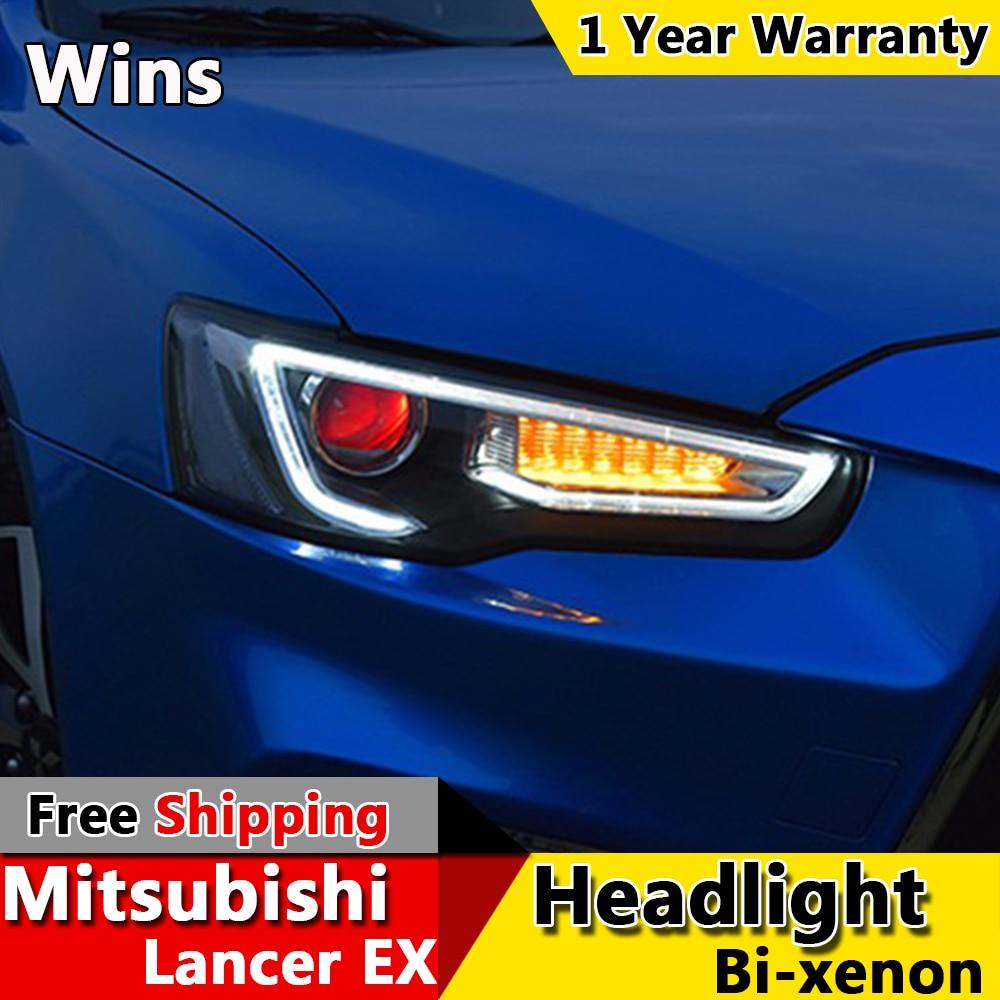 wins lights for mitsubishi lancer headlights 2009 2016 ex led headlight led drl bi xenon lens. Black Bedroom Furniture Sets. Home Design Ideas