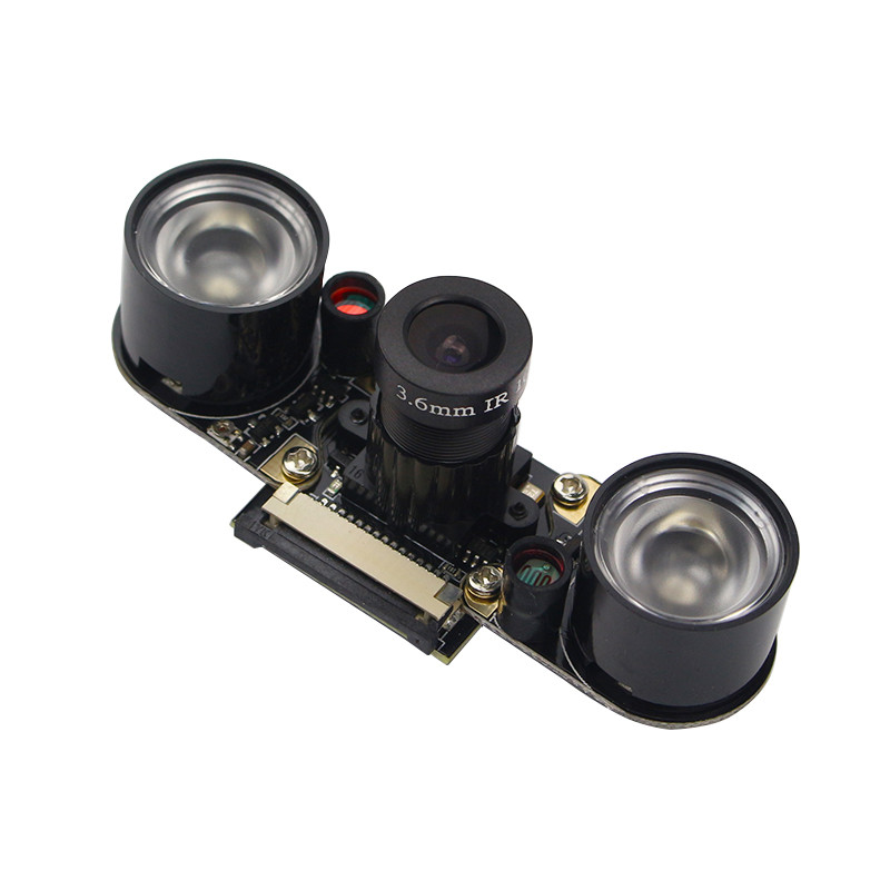 5MP Raspberry Pi 4 Camera Focal Adjustable Night Vision Camera + IR Sensor Light + Holder for Raspberry Pi 4 Model B/3B+/3B/Zero
