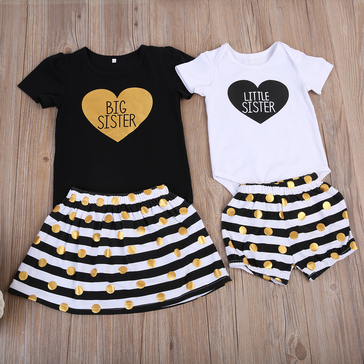 Emmababy Big Little Sister Clothes <font><b>Set</b></font> <font><b>Baby</b></font> Girl Clothes 2pcs/<font><b>Set</b></font> Short Sleeve Heart Print Letter <font><b>Tshirt</b></font>+Dot Skirt/Shorts Outfit image