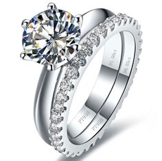 Clic Simple 2 Carat Simulated Diamond Wedding Set Engagement Ring For Women Solid 9k White