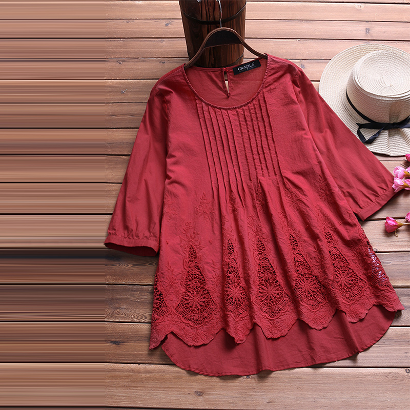 Vintage Women Pleated Casual Blouse 2018 Autumn Linen Top Female Lace Crochet Shirt