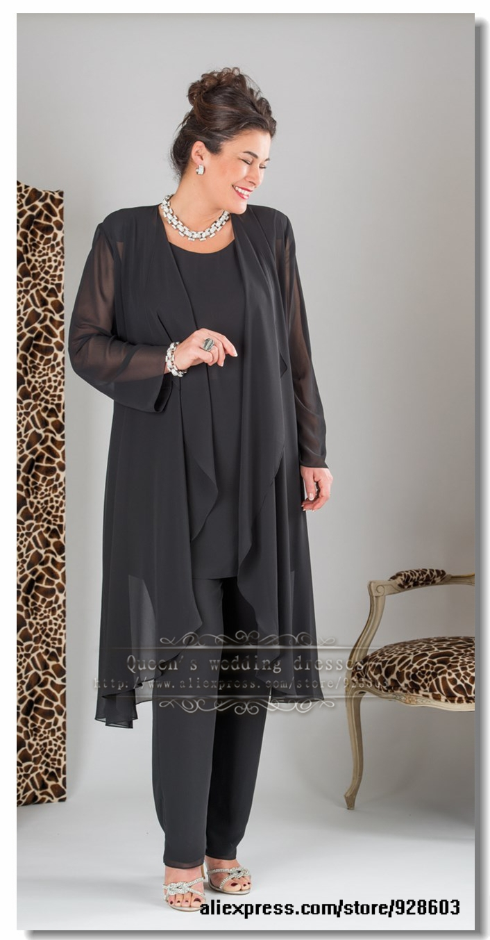 Plus size Elegant Black three picec mother of the bride Chiffon pant suits with long jacket gown