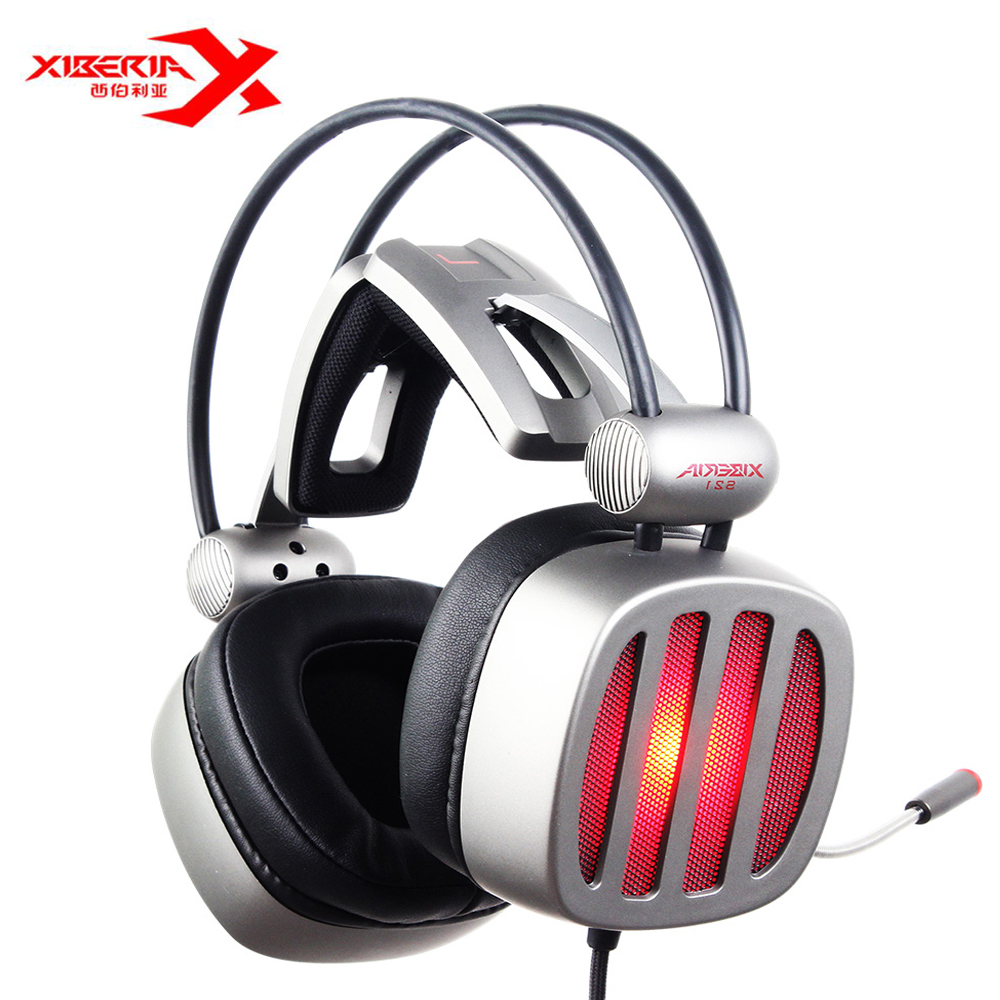 XIBERIA S21 USB Gaming Headphones With Microphone Noise Canceling LED Over-Ear Stereo Deep Bass Game Headsets For PC Gamer original xiberia v5 usb wired gaming headphone super bass stereo headset microphone over ear noise lsolating pc gamer headphones