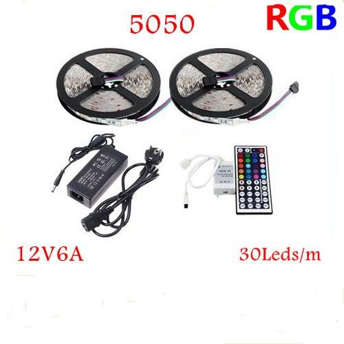 10 M 5050RGB 300 Led néons à LED 30leds/m et 44Key Contrôleur IR et 12V6A alimentation UE/US/AU/UK avec numéro de suivi