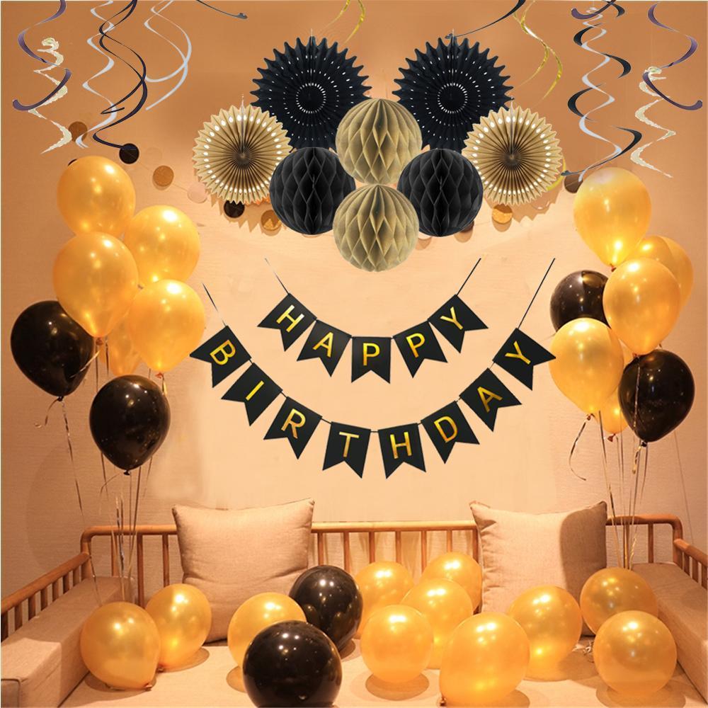 Gold Black Birthday Party Decorations Paper Happy Birthday