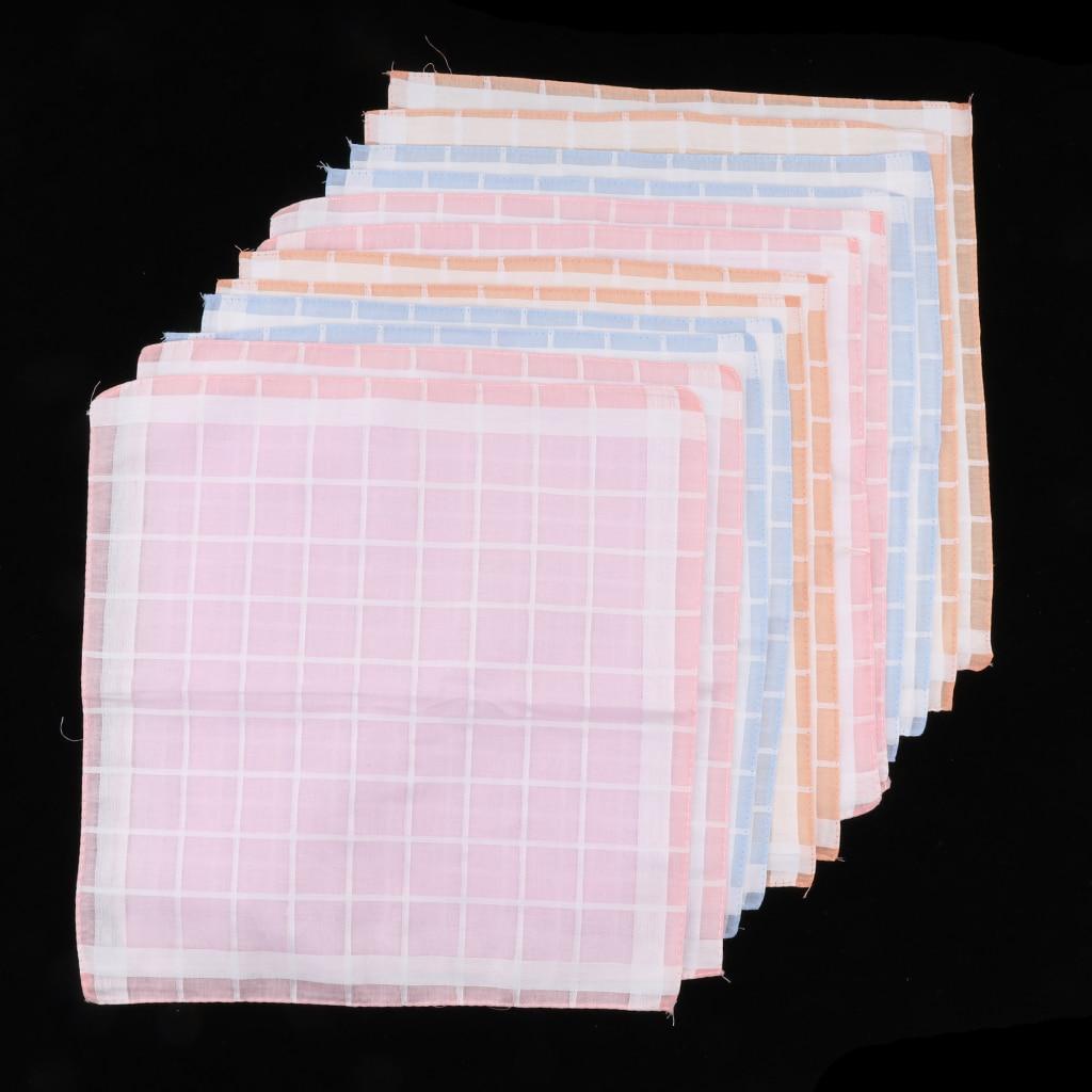 12pcs Men Women Vintage Plaid Handkerchief Pocket Square Wedding Party Hanky Hankie Kerchiefs Assorted Color
