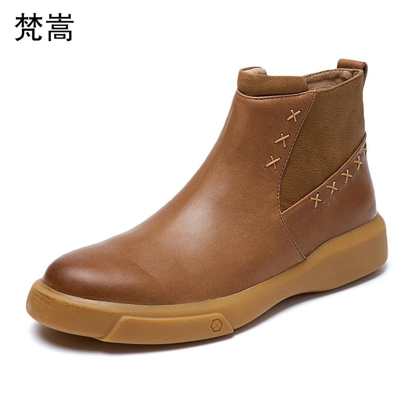Bottes chelsea pour hommes en cuir véritable peau de vache équitation automne hiver britannique bottes de cowboy rétro hommes respirant hommes bottes décontracté