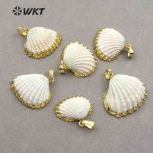 WT-JP017 Wholesale Fashion gold plated white scallop shell pendant, Amazing lovely natural scallop shell pendant with gold trim tulip sleeve scallop trim keyhole top
