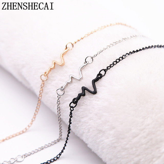 Simple Heartbeat Bracelet Fashion Jewelry 3 Colors Gift Exquisite Bangle  and Bracelet Women Men Top Quality 9f46967a9220