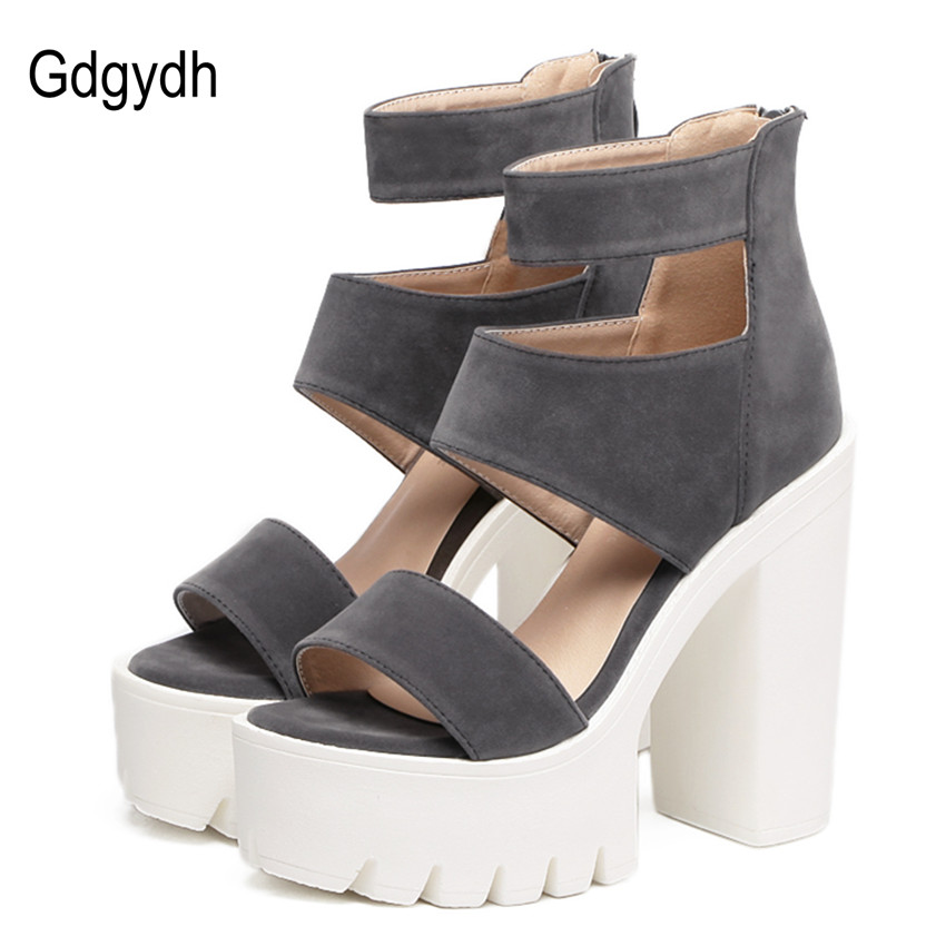 Gdgydh Fashion Summer Shoes Gladiator Women Sandals Casual Cut-outs Open Toe Thick Heels 13cm Female Gladiator Shoes High Heels gdgydh fashion summer women shoes heels 2018 new arrivals sexy cut outs open toe thick heel black rome platform sandals woman