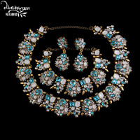 Dvacaman Brand 2017 Indian Wedding Bridal Three Jewelry Sets Luxury Crystal Engagement Party Accessories Women Bijoux Femme V94