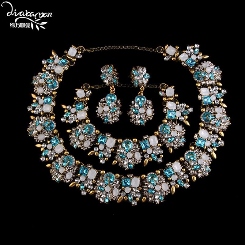 Dvacaman marque 2017 mariage indien nuptiale trois ensembles de Bijoux de luxe cristal accessoires de fête de fiançailles femmes Bijoux Femme V94
