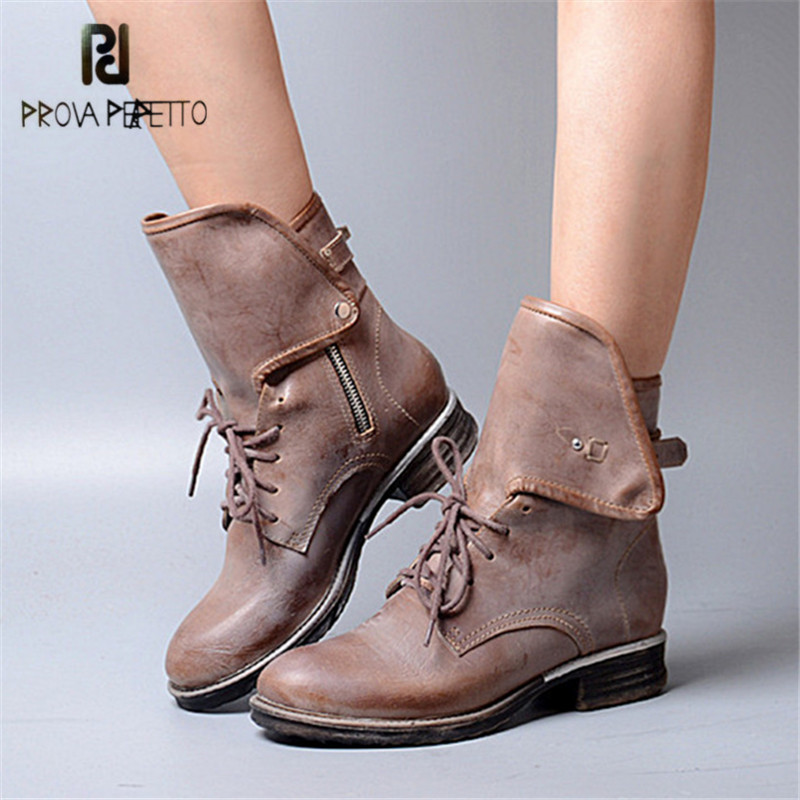 Prova Perfetto New Hot Women Martin Boots Autumn Round Toe Flat Platform Shoes Woman Lace Up Female Genuine Leather Ankle Boots prova perfetto black handmade women genuine leather mid calf boots buckle straps martin boots women platform rubber shoes woman