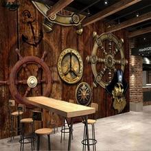 Beibehang, grande, personalizado, Retro, nostálgico, tablero de madera, timón, tema de vela, restaurante, tocador, pared de fondo