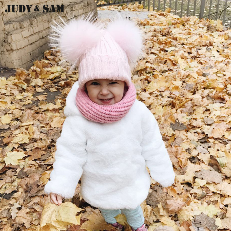 New Winter Warm Children Pompon Beanies Hats for Girls and Boys 18 Colors Blend Wool of Kids Caps with Real Fur Pom Pom цена и фото