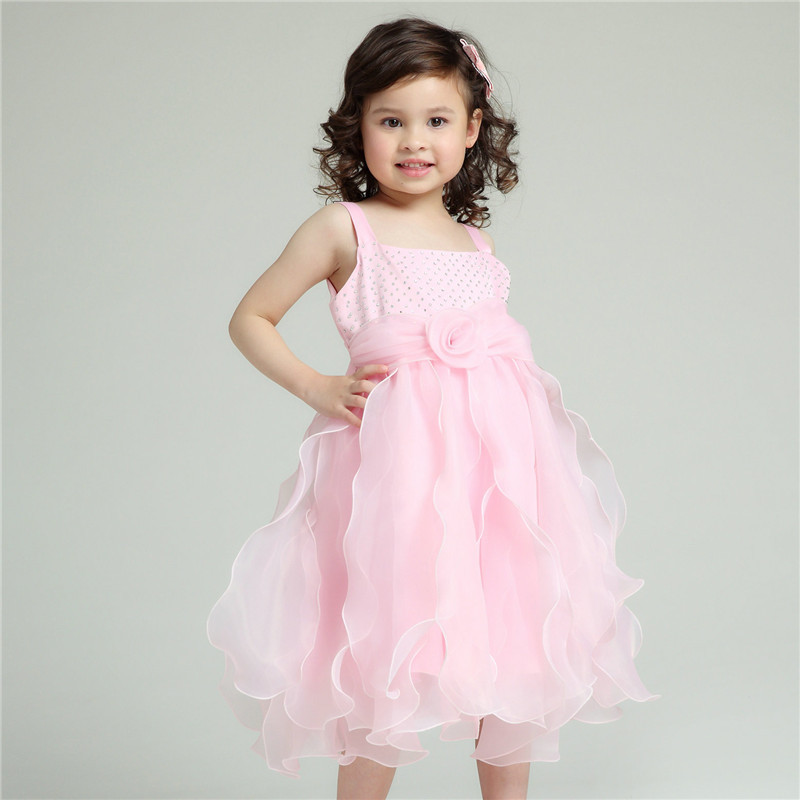 Formal Occasion Wear Girl Dresses Children Pink Wedding Princess Vestidos 2017 Kids Clothes For Girls Of 2 To 10 Years AKF164061 azel 4 12t children party wear short front long back formal dress white princess wedding flower girl vestidos girls clothes