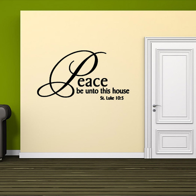 Peace Be Unto This House PVC Waterproof Removable Art Wall Sticker ...