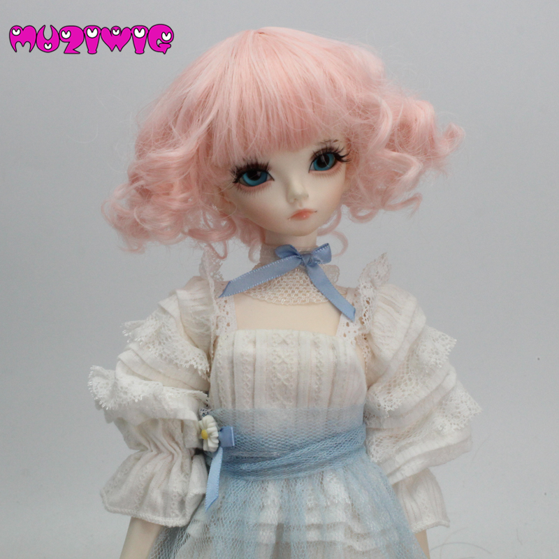 High-temperature Fiber Synthetic Light Pink Short Body Wavy Curly Hair Wig With Bangs For 1/3 1/4 1/6 Bjd Muziwig Free Shipping