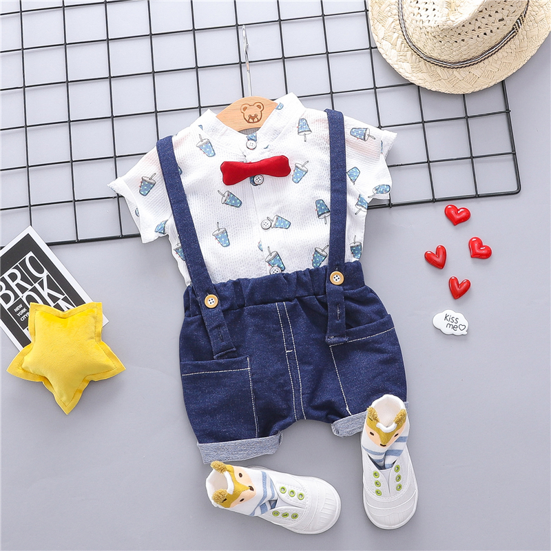 2019 Summer Baby Boys Clothing Sets Infant Toddler Clothes Suits T Shirt Strap Shorts Kids Children Casual Suit in Clothing Sets from Mother Kids