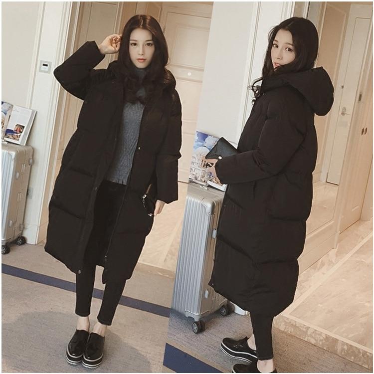 ФОТО 2016 Korea Winter warm Clothes Woman Overknee Long Fund Bread Padded Even Hat Loose Coat 659665