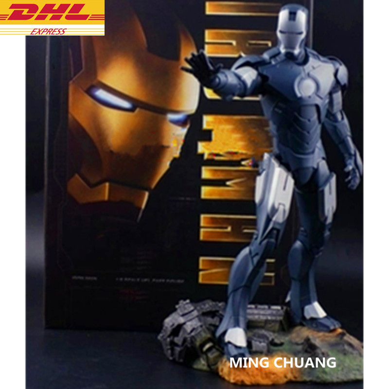 Statue Avengers Infinity War Superhero Iron Man Bust 1:6 Tony Stark Full-Length Portrait With LED Light Action Figure Toy D301 avengers iron man helmet wearable computer tony stark cosplay mask with led light war damage version for children model toy
