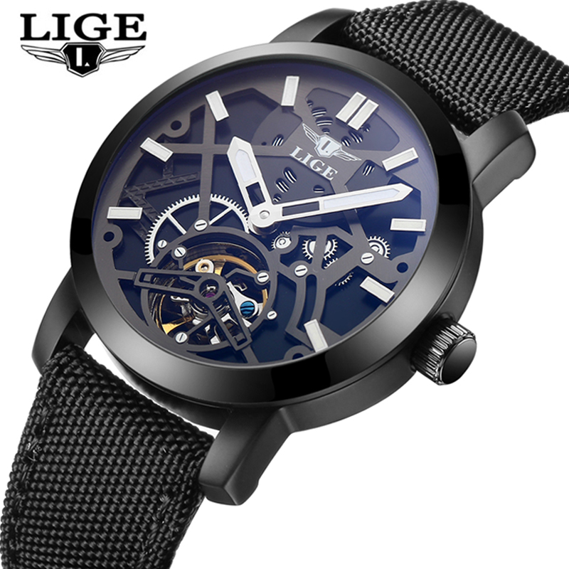 LIGE Mens Watches Top Brand Luxury Automatic Mechanical Watch Men Business Waterproof Sport Watches Relogio Masculino Male Clock mce mens watches top brand luxury tourbillon men watches automatic mechanical watch fashion vintage clock relogio masculino
