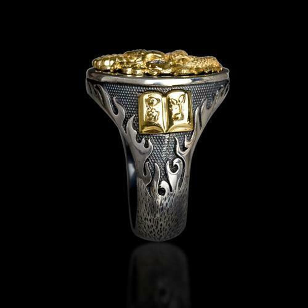 Geschenk Party Men/'s Ring Chinesischer Drache geschnitzt 18K Goldplatte Schwarz